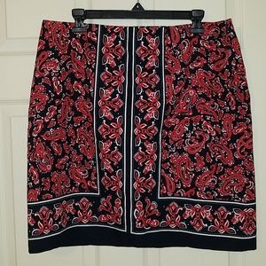Talbots Paisley Red/Blue Pencil Skirt